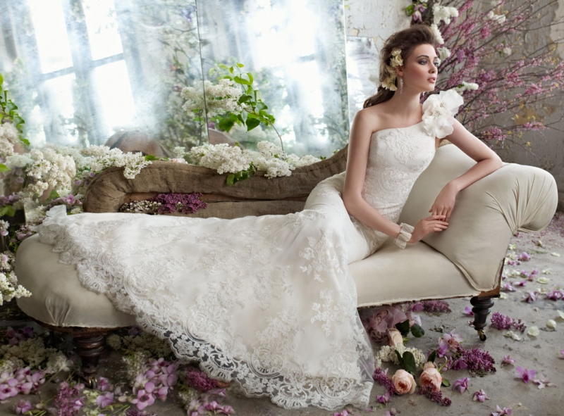 tara keely bridal alencon lace one shoulder trumpet gown floral sweep train organza petals